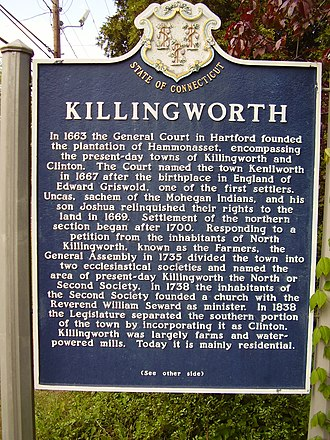Killingworth, Connecticut - Town historical marker along Route 81