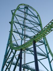 View from the ground up the 456-foot-tall structure of Kingda Ka