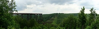 Kinzua Bridge - Panorama of Kinzua Gorge, in June 2011, from the overlook.
