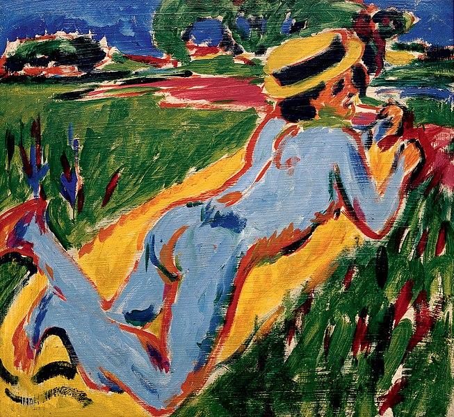 Datoteka:Kirchner - Liegender blauer Akt mit Strohhut.jpg
