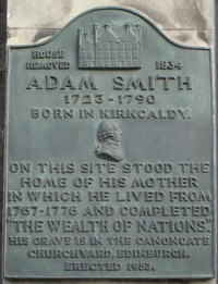 Commemorative plaque at Kirkcaldy