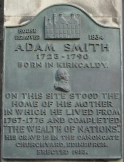 Photo of Adam Smith bronze plaque