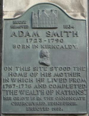 Plaque commemorating the house in which Adam S...