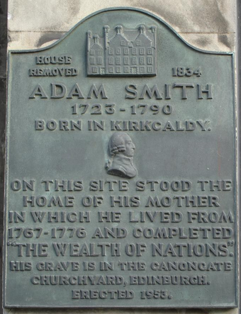 A commemorative plaque for Smith is located in Smith's home town of Kirkcaldy. Kirkcaldy High Street Adam Smith Plaque.png