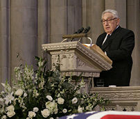 Former Secretary of State Henry Kissinger delivers his remarks honoring former President Gerald Ford during the State Funeral service at the National Cathedral in Washington, D.C.