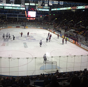 Kitchener Rangers - The Kitchener Rangers playing at the Kitchener Memorial Auditorium Complex against the Guelph Storm in 2014.