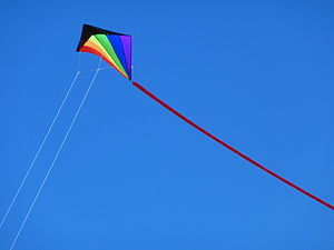 English: A kite being flown at the Morecambe K...