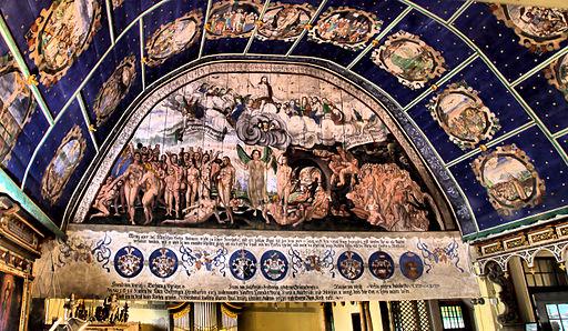 Klępsk - scena sądu ostatecznego z 1613 r. Największe ze 117 malowideł znajdujących się w kościele.