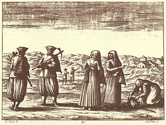 Karst Plateau (Italy-Slovenia) - Karst peasants in an engraving from Johann Weikhard von Valvasor's monograph The Glory of the Duchy of Carniola, 17th century.