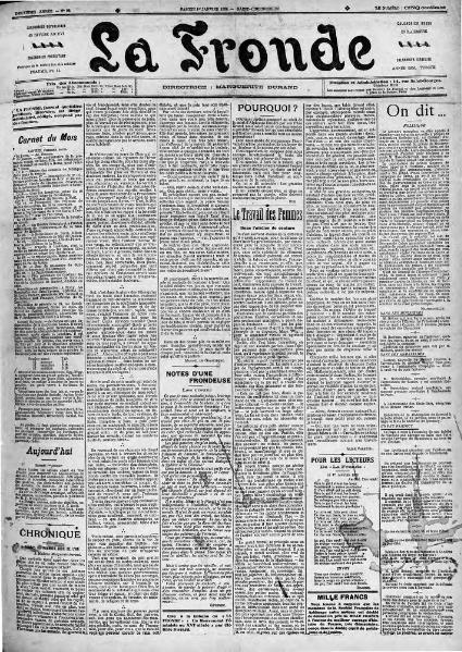 La Fronde - 1er janvier 1898