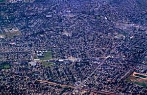 Greater Los Angeles Area - A flat land area in the Greater Los Angeles Area completely filled with houses, buildings, roads, and freeways