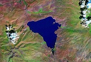 Lake Çıldır - seen from space (false color)
