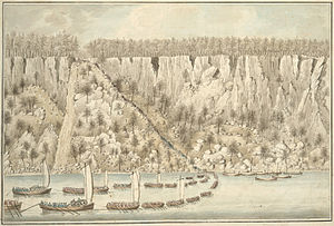 Fort Lee Historic Park - Watercolor by Captain Thomas Davies depicting the British landing at the base of the Palisades.