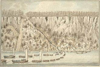 New York and New Jersey campaign - Depiction of the British landing at the Palisades near Fort Lee, New Jersey. Watercolor attributed to Thomas Davies