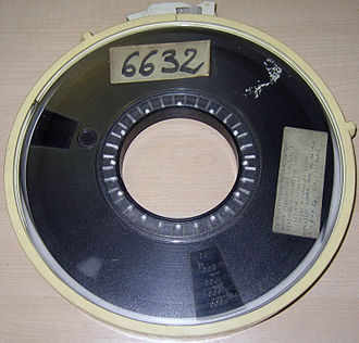Magnetic tape data storage - 10.5-inch diameter reel of 9 track tape.