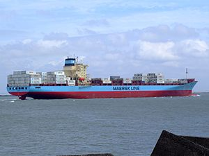 Laust Maersk p10 approaching Port of Rotterdam, Holland 14-Jul-2007.jpg