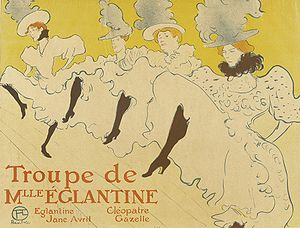 Can-can - Depiction of the can-can by Henri de Toulouse-Lautrec, 1895