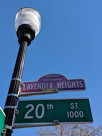 Midtown Sacramento - Lavender Heights Street Sign at 20th and J streets