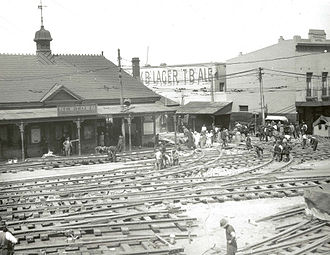 Newtown, New South Wales - Relaying tram tracks in Newtown 1927