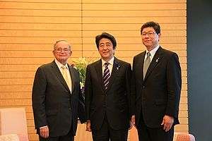 Leo Melamed - with Shinzō Abe and Tsuyoshi Takagi (at the Prime Minister's Official Residence on July 1, 2014)
