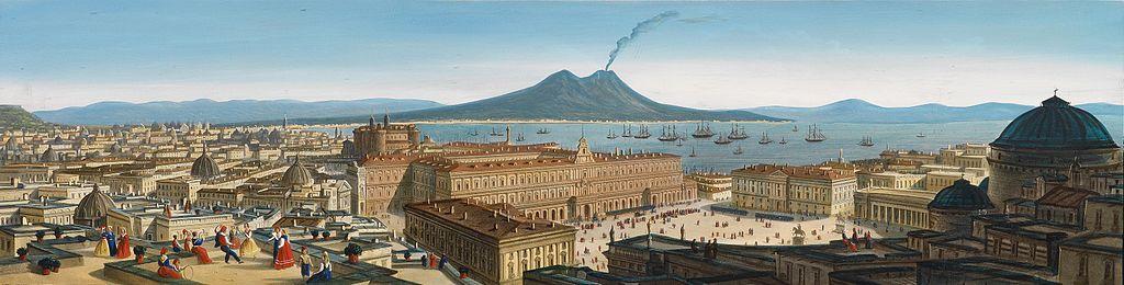 La basilique San Francesco di Paolo à Naples à droite devant la Piazza Plebiscito et le Palais Royal avec le Vésuve dans le fond.