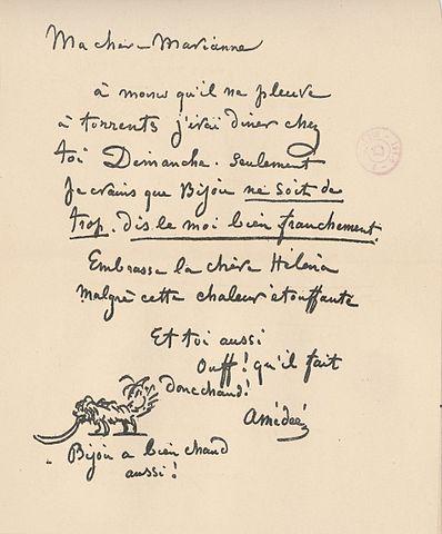 Filelettre Autographe De Cham à Sa Soeur Marie Anne De Noé
