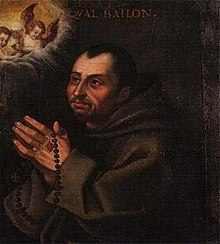 Saint Paschal Baylon died on May 17, 1592 LienzoS Pascual.jpg