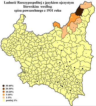 Lithuanian minority in Poland - Distribution of Lithuanian speakers in the Second Polish Republic