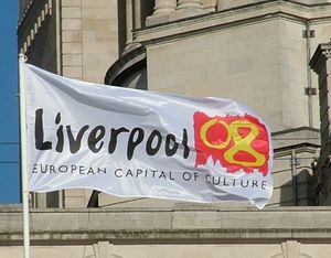 Culture of Liverpool - Liverpool European Capital of Culture 2008 flag, flying in front of the Port of Liverpool Building