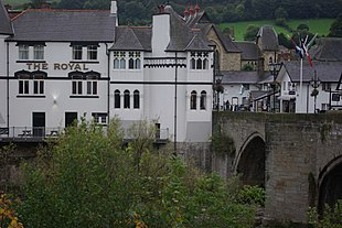 "The Royal Hotel, Llangollen Bridge, patronised by <a href=""http://search.lycos.com/web/?_z=0&q=%22Queen%20Victoria%22"">Queen Victoria</a>"