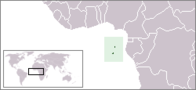 A map showing the location of São Tomé and Príncipe