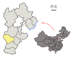 Location o Shijiazhuang Ceety jurisdiction in Hebei