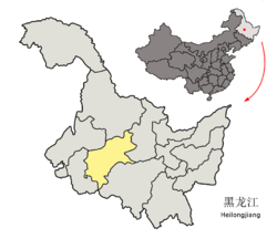 Location of Suihua City (yellow) in Heilongjiang (light grey)