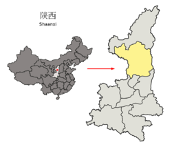 Location of Yan'an City jurisdiction in Shaanxi