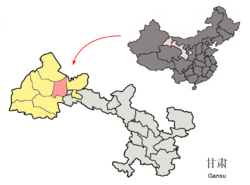 Location of Yumen City (pink) within Jiuquan City (yellow) and Gansu