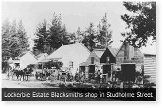 Morrinsville - Lockerbie Estate Blacksmiths in Studholme Street, Morrinsville, circa 1890