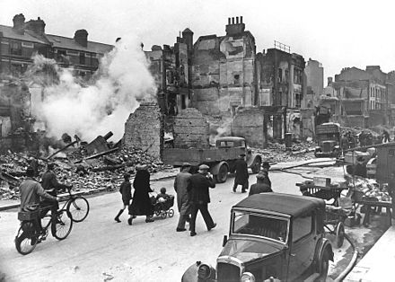 A bombed-out London street during the Blitz of the Second World War LondonBombedWWII full.jpg