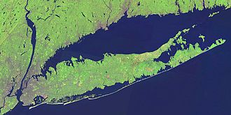 Queens - NASA Landsat satellite image of Long Island and surrounding areas.