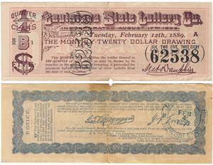 Louisiana State Lottery Company - A ticket from the February 12th, 1889 Louisiana State Lottery