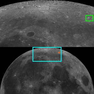 Democritus (crater) - Location of the crater Democritus
