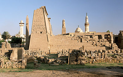 Luxor, Luxor Temple, west side view, Egypt, Oct 2004.jpg