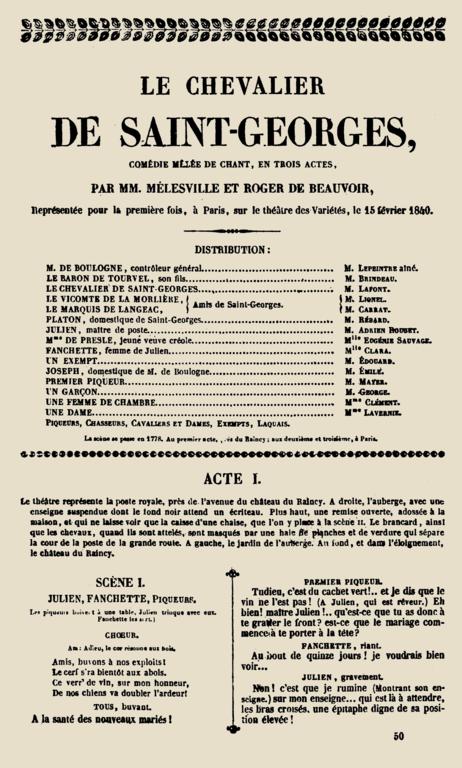 Filemlesville Beauvoir Le Chevalier De Saint Georges Comdie