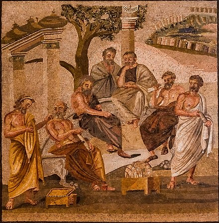 Mosaic from Pompeii (1st c. BC) depicting Plato's Academy. MANNapoli 124545 plato's academy mosaic enh crop.jpg