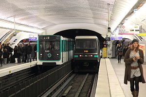 Paris Métro Line 4 - Transition of rolling stock from the MP 59 to the MP 89 took place during 2011 and 2012.