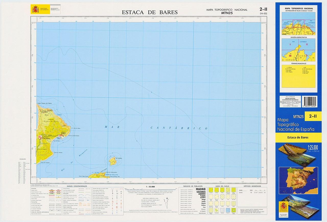 Estaca De Bares Mapa.File Mtn25 0002c2 2005 Estaca De Bares Jpg Wikimedia Commons