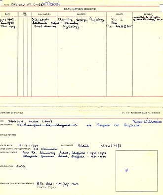 Mabel Hokin - Image: Mabel hokin sheffield record card 1