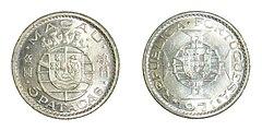伍圓(5パタカス)銀貨、1971年