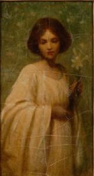 Mary Lizzie Macomber - Image: Macomber young woman in a white dress with a lily