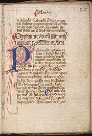 Magna carta cum statutis angliae, (Great Charter with English Statutes) page 1 of manuscript, fourteenth century.