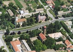 The main street of Magyarcsanád on an aerial photo